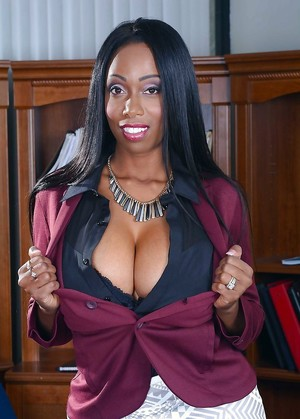 Titted ebony milf with round, big..